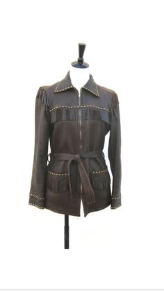 Cool coverage for grown up style.  Vintage Deerskin Chocolate Brown Fringed Leather Jacket by W.B.Place & Co Ladies M, Mens S   Reissued