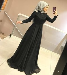 ABALE MODEL icial - The most beautiful dresses and seasonal outfits Hijab Prom Dress, Muslimah Wedding Dress, Hijab Style Dress, Dress Outfits, Modest Dresses, Nice Dresses, Formal Dresses, Abaya Fashion, Muslim Fashion