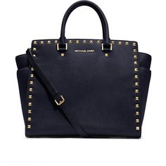 Women's Large Selma Studded Saffiano Tote - MICHAEL Michael Kors (9 225 UAH) ❤ liked on Polyvore featuring bags, handbags, tote bags, purses, bolsas, sac, accessories, zip tote bag, studded tote and navy blue tote bag