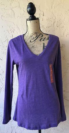 0fbf614c430 Womens Purple Long Sleeve Mossimo V Neck Top Large