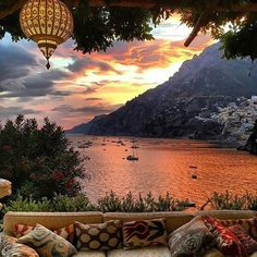 """Fiery Skies  in Positano, Italy from the beautiful Villa Treville. Go to @luxwtconcierge or email travel@luxwt.com for more information about this spectacular location. ━━━━━━━━━━━ """"Dream Big, Eat Well & Travel On"""" ━━━━━━━━━━━"""
