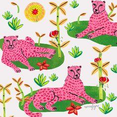 Pink cheetahs relaxing on the grass - emmajayne-designs
