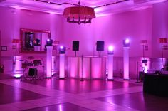 Diamond Lighting Towers with L.E.D. uplighting and white DJ Facade @ The StoneHouse