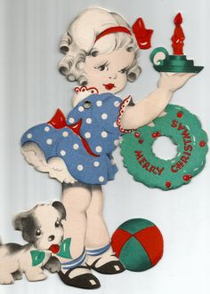 Vintage die cut little girl dog candle Christmas by BigGDesigns
