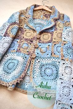 No Link - Boho jacket Sicilia by Aisha Crochet Crochet Coat, Crochet Jacket, Crochet Cardigan, Crochet Shawl, Crochet Clothes, Crochet Stitches, Freeform Crochet, Crochet Granny, Irish Crochet