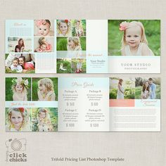 5x5 Trifold Pricing List Template - Photography Pricing Guide - Price List - Brochure Price Sheet -004 - C198, INSTANT DOWNLOAD