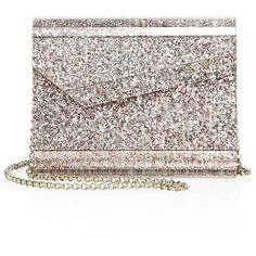 Jimmy Choo Speckled Glitter Camellia Clutch ($790) ❤ liked on Polyvore featuring bags, handbags, clutches, apparel & accessories, camellia, glitter purse, chain handle handbags, white purse, chain-strap handbags and flap handbags