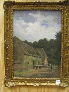 ,Louis Krans Koeien naar de stal drijven... Dit schilderij wordt geveild door Methusalem Schoonoord op woensdag 13 november 2013 in Assen.