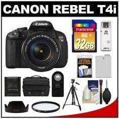 "Canon EOS Rebel T4i Digital SLR Camera Body & EF-S 18-135mm IS STM Lens with 32GB Card + Battery + Case + Tripod + Filter + Remote + Accessory Kit by Canon. $999.95. Kit includes:♦ 1) Canon EOS Rebel T4i Digital SLR Camera & EF-S 18-135mm IS STM Lens♦ 2) Transcend 32GB Class 10 SDHC Card♦ 3) Spare LP-E8 Battery♦ 4) Vivitar 67mm UV Filter♦ 5) Vivitar Wireless Remote♦ 6) Precision Design System Case♦ 7) Precision Design 58"" Tripod♦ 8) Precision Design EW-73B L..."