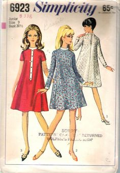 """Vintage 1966 Simplicity 6923 One Piece Tent Dress in Two Lengths Sewing Pattern Size 9 Bust 30 1/2"""""""