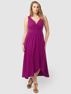 Fuchsia Plum Fit  Flare Maxi Dress by Lands'End,Available in sizes M/L,0X/1X/2X and 3X