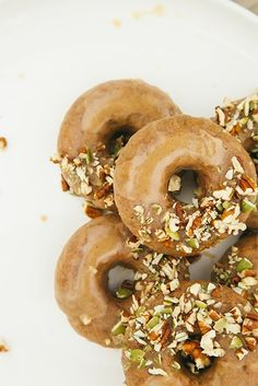Maple doughnuts with salted almond butter glaze. Vegan and gluten-free.