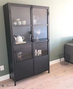 Cupboard Shelves, Steel Cabinet, Apartment Renovation, Black Cabinets, Furniture Projects, China Cabinet, Home And Living, Interior Inspiration, Locker Storage