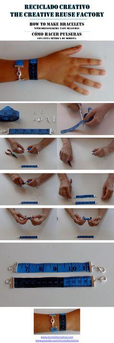 How to make bracelets with dressmakers tape measures - Cómo hacer pulseras con una cinta métrica de modista