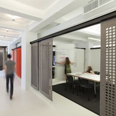 sliding partitions made of wool felt... (white board/presentation board idea along wall for the architects office space)