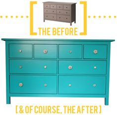 Ikea HEMNES chest of drawers: painted, knobs replaced