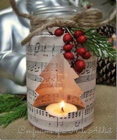 40 Mason Jar crafts for Christmas DIY Sheet Music Mason Jar Christmas Candle Christmas Mason Jars, Noel Christmas, Christmas Candles, Homemade Christmas, Christmas Decorations, Rustic Christmas, Nordic Christmas, Modern Christmas, Christmas Paper
