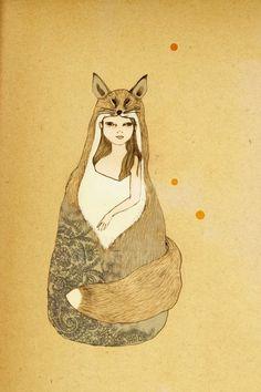 foxy girl print by irena sophia on etsy