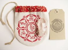 Mani Mantra crystal pouch, hand printed and lined eco red & white drawstring bag, amulet /talisman / medicine /I Ching / Buddhist gift pouch by GaneshasRat on Etsy