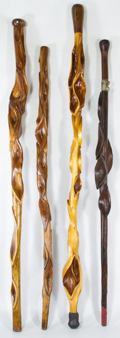 Carved Twisted Wood Walking Sticks / Canes; Four canes. I love the darkest stick