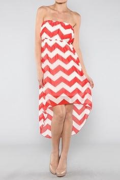 Red High Low Missoni Dress. Strapless. 100% Polyester, Made in the USA. This dress is nice enough to wear in a Formal setting.
