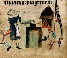 Blacksmith. detail. England 1320-30. Book of Hours.  Harley 6563. BL by tony harrison, via Flickr