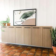 Ikea Ivar Cabinet, Ikea Cabinets, Ivar Ikea Hack, Ikea Hacks, Pine Furniture, Dipped Furniture, Ikea Wall, Long Walls, Diy Interior