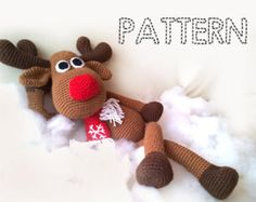 Crochet Christmas Deer PATTERNS, Rudolph Toy Reindeer Amigurumi Animals Tutorial, Stuffed Toys, Crochet Patterns for Babies, Rudolf Crochet