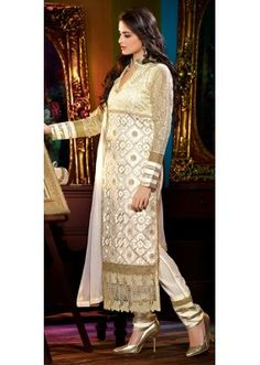 Cream Faux Georgette Floor Touch Salwar Suit-FA231-6309(FFH-FA231)