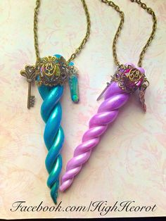 Fantastical Unicorn Horn Pendants - Mythical Creature - Fairy Tale Jewelry polymer clay