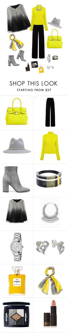 """""""Winter glam with a twist of lime"""" by yvieb-bea ❤ liked on Polyvore featuring Save My Bag, T By Alexander Wang, YOSUZI, RED Valentino, Gianvito Rossi, Marni, Chicwish, Tobi, Gucci and Lagos"""