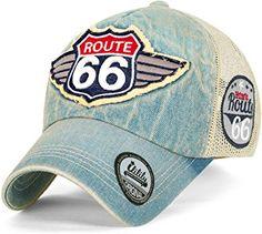 4da07b49 ililily Route 66 Wing Logo Patch Denim Mesh Back Snapback Hat Baseball Cap  (ballcap-1081-2) at Amazon Men's Clothing store: