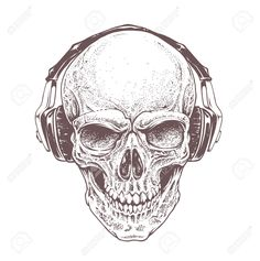 39920633-Dotwork-styled-skull-with-headphones-Vector-art--Stock-Vector-skull-tattoo-de.jpg (1294×1300)