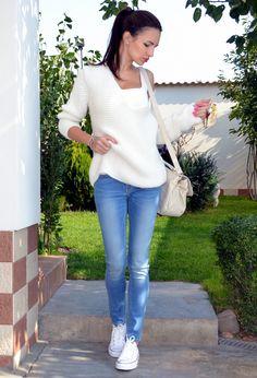 As simple as white  , Zara in Sweaters, Converse in Sneakers, Stradivarius in Bags