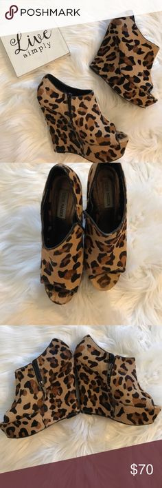 Steve Madden leopard print wedges Size 7.5. Very gently worn, in great condition! Some wear near the R heel and toe; shown in photos. Make an offer! Steve Madden Shoes Wedges
