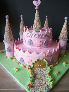 Castle cake....when I have plenty of time!  Too bad her princess party is THIS year. Im sure there will be others!