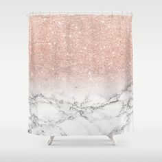 Modern faux rose pink glitter ombre white marble Shower Curtain by Girly Trend - $68.00