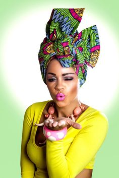 Green-&-Pink-African-Print-Head-Wrap--1 african fabric head wrap, colourful accessories, peeks, zanjoo, yellow dress, black girls makeup