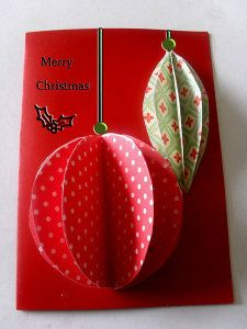Easiest 3D Ornaments Christmas Card: this is a simple and cute Christmas card idea!