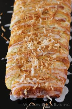 Almond Coconut Pastry Braid Recipe from Willow Bird Baking Coconut Recipes, Dessert Recipes, Desserts, Breakfast Recipes, Perfect Food, Sweet Bread, Coffee Cake, Sweet Tooth, Brunch