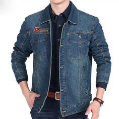 Envmenst Retro Men's Denim Casual Thick Designer Coat