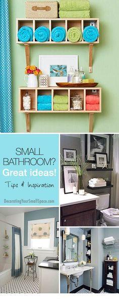 Small Bathroom? Great Ideas! • Tips, Ideas & Inspiration! organizing ideas organizing tips #organized