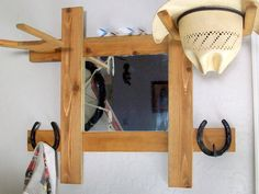 Cowboy Hat Rack with Mirror and Hooks    Wall by BormanRRRanch, $80.00