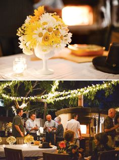 OMGOSH!  I love the greenery wrapped along the white string lights!  Beautiful! {Backyard Garden Party}