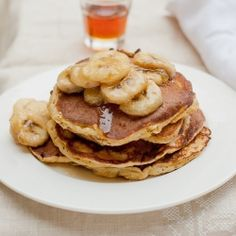 Ricotta Pancakes with Banana Maple topping