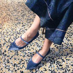 Elena Braghieri in her Mia Moltrasio powder blue pointed toe flats