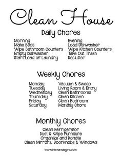 What chores to do to have a clean house, cleaning schedule, cleaning tips, homemaker tips House Cleaning Tips, Spring Cleaning, Cleaning Hacks, Cleaning Schedules, Daily Cleaning, Household Cleaning Schedule, Cleaning Challenge, Cleaning Routines, Cleaning Lists