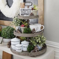 Vintage Decor Rustic The Charlotte - Wooden 3 Tier Tray – Vintage Farmhouse Finds - 3 tier trays are trendy in serving food at parties, for holiday decorating, and home decor. Learn to style them and find the best budget serving stands.