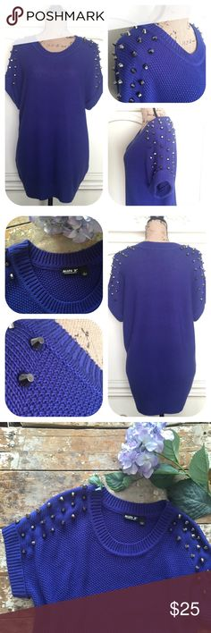 Final Price❗️Allen B. Studded Shoulder Knit Top Stand out with this cool Allen B. studded shoulder top. It's heavy knit well made in a nice and colorful purple/blue color by designer Allen B. Schwartz. Short sleeves. Looks great with leggings or jeans. Great condition. Size Large. 🎈No holds 🎈No trades 🎈No transactions outside of Poshmark 🎈No lowball offers 🎈Please use Offer button to negotiate Allen B. Tops