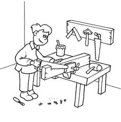 Carpenter coloring pages People Coloring Pages, Online Coloring Pages, Colouring Pages, Printable Coloring Pages, Coloring Pages For Kids, Coloring Sheets, Coloring Books, Pictures To Draw, Print Pictures